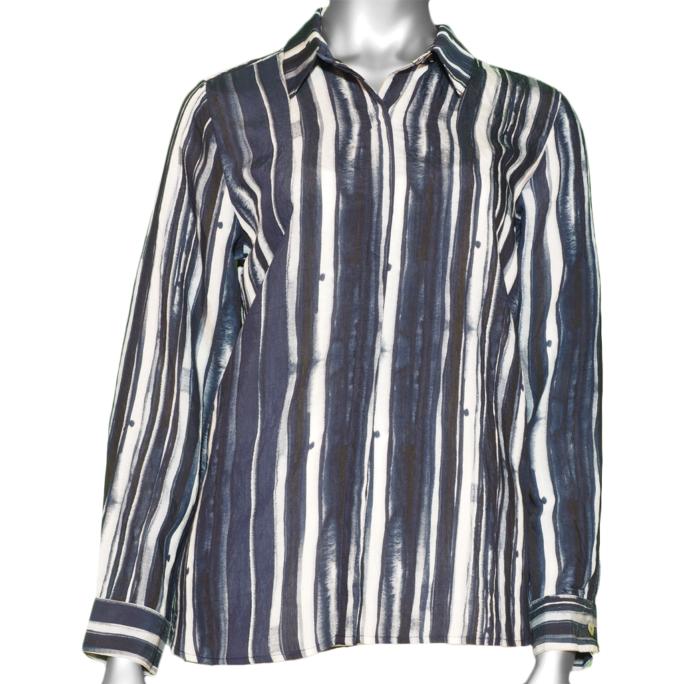 Habitat Hidden Placket Shirt Shibori Stripe