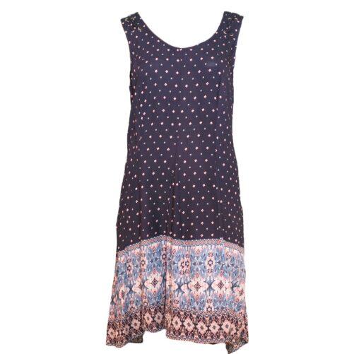 Tribal Sleeveless High-Low Dress - Dustblue