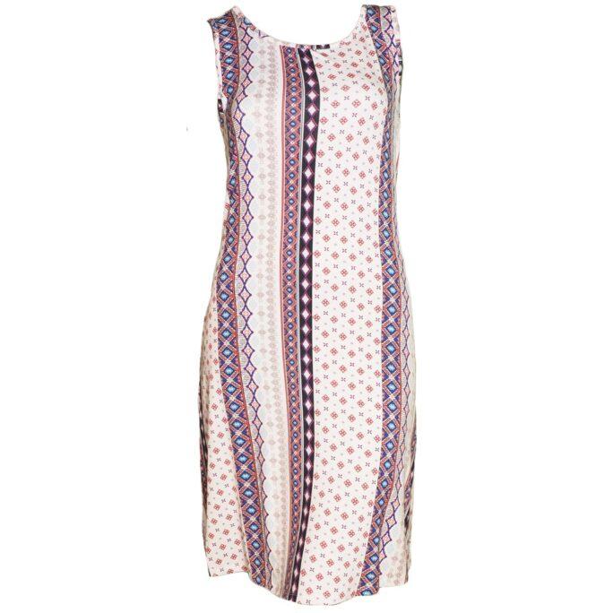 Tribal Halter Dress with Pockets- White Print