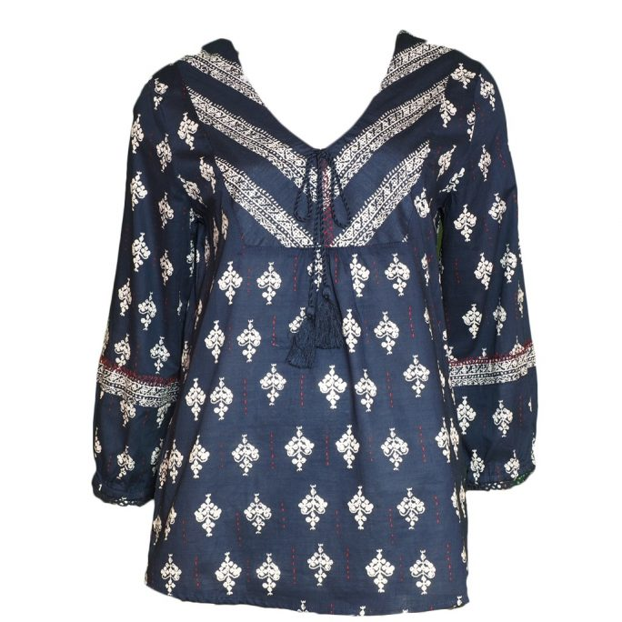 Tribal 3/4 Sleeve Blouse with Tassel Ink