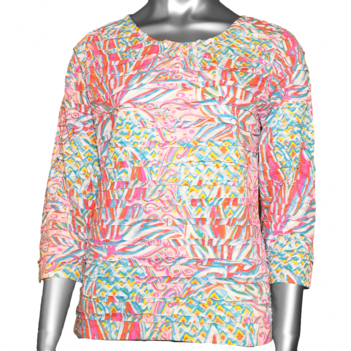 Lulu-B Burn Out 3/4 Sleeve Tucked Top- Pink Print