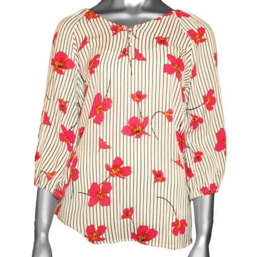 Tribal 3/4-Sleeve V-neck Blouse- Hot Pink