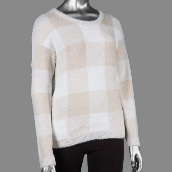 Tribal Plaid Sweater Pebble
