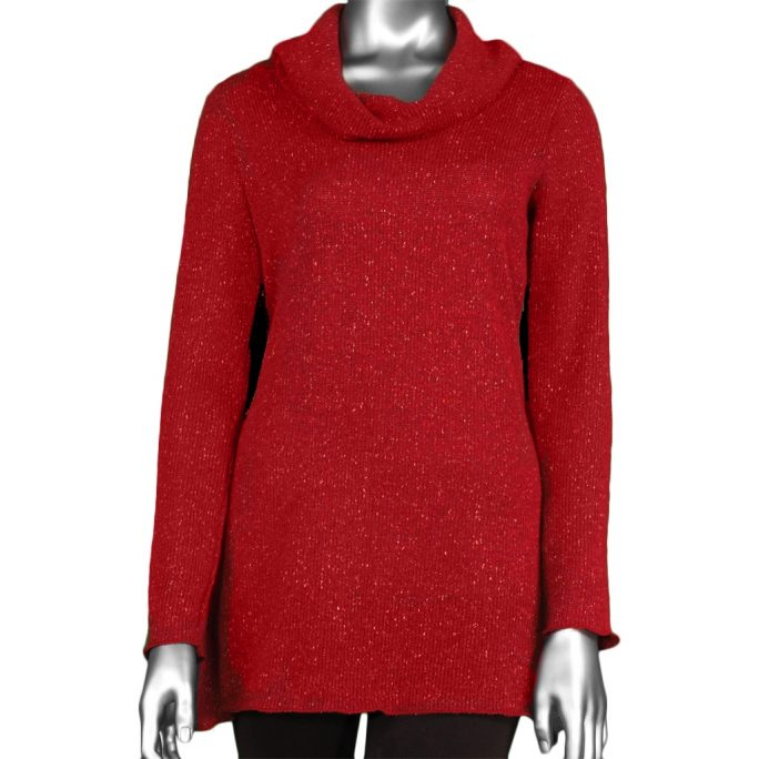 Pure Essence Women's Cowl Neck Tunic Red