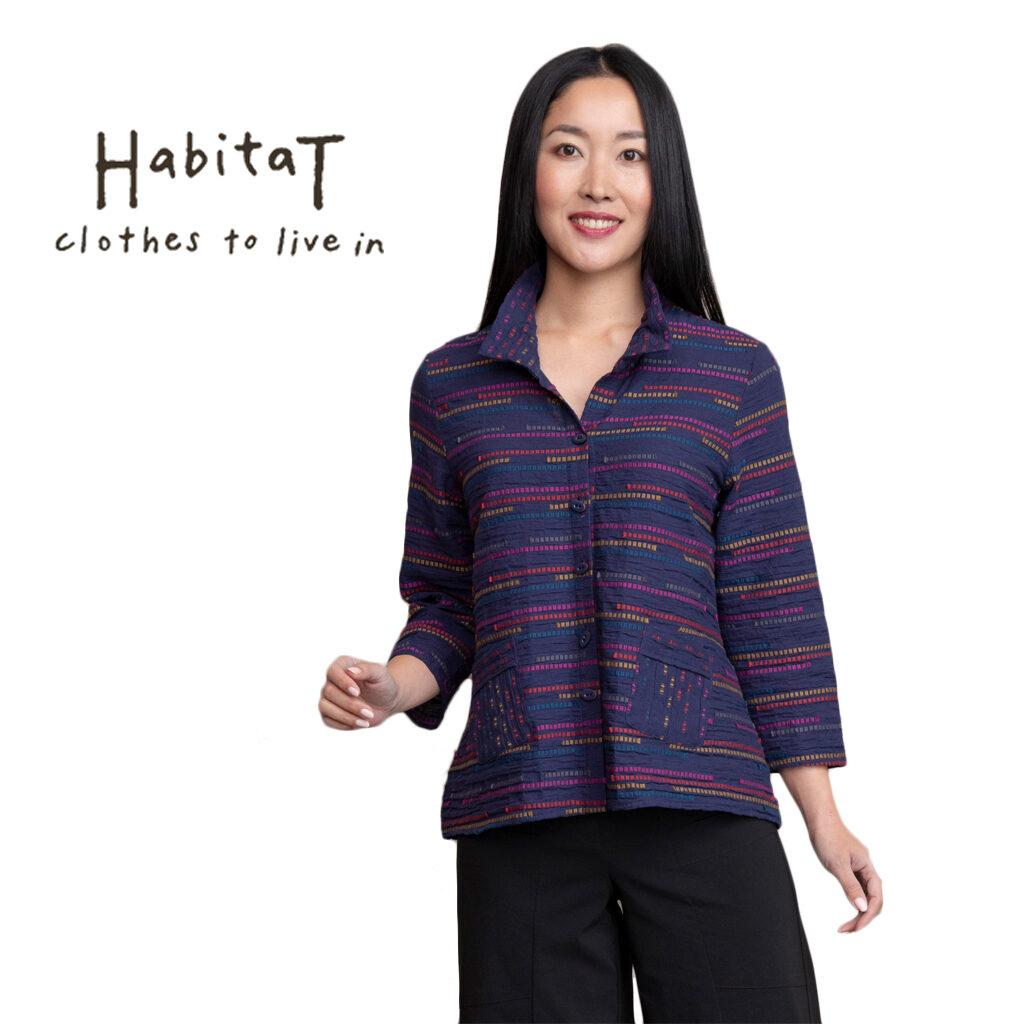 Habitat Women's Peruvian Ruch Collar Jacket Indigo 46416