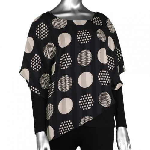 Michael Tyler Long-Sleeve Top with Overlay Black/Beige