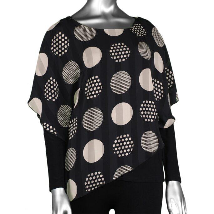 Michael Tyler Long-Sleeve Top with Overlay Black/Beige