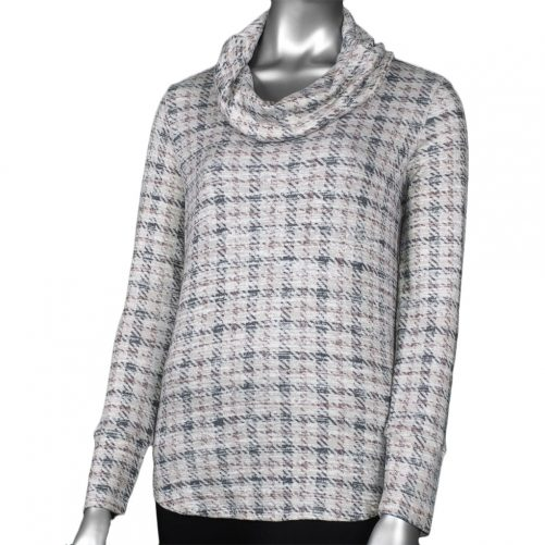 Tribal Houndstooth Cowl Neck in Thistle
