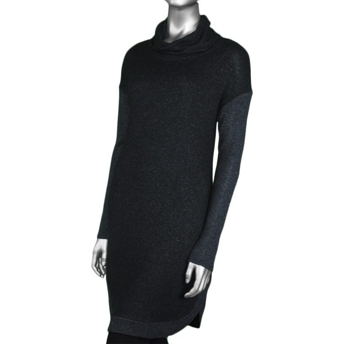 Tribal Cowl Neck Dress with Pockets - Black