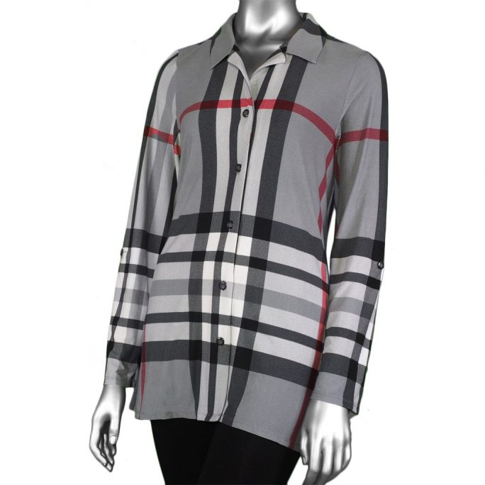 Michael Tyler Tab-Sleeve Grey Plaid Shirt