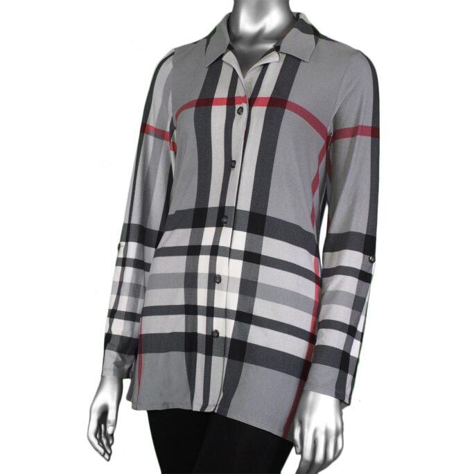 Michael Tyler Tab-Sleeve Grey Plaid Shirt
