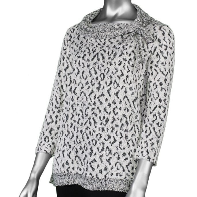 Multiples Cowl Neck Print Winter White