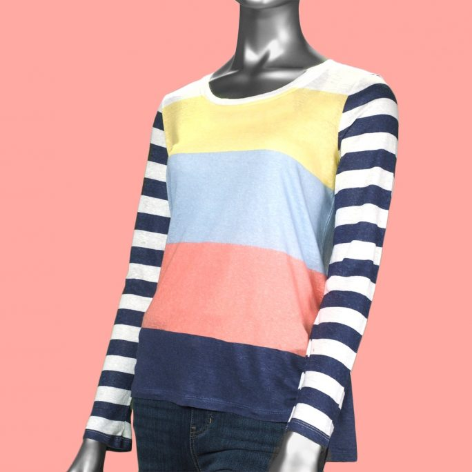 Tribal Striped Scoop Neck- Fountain