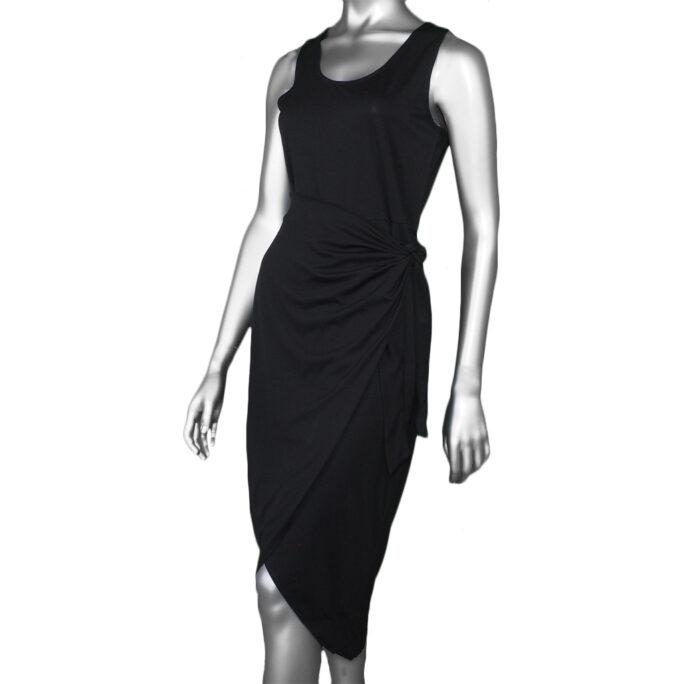 Tribal Sleeveless Wrap Dress- Black