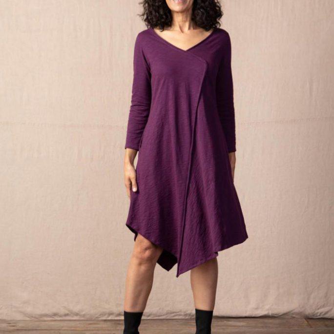 Habitat Cotton Pebble Asymmetrical Dress- Wine. Habitat Style: 27581.