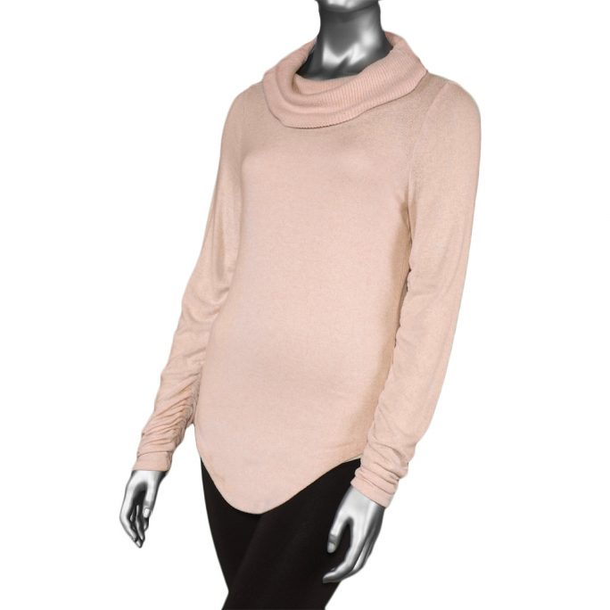 Tribal Cowl Neck with Shirring Detail- Blush. Tribal Style: 4642O-3326-0770