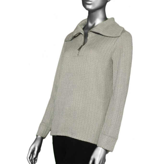 Tribal Funnel Neck Top with Zipper- Silver. Tribal Style: 4747O-3406-0372
