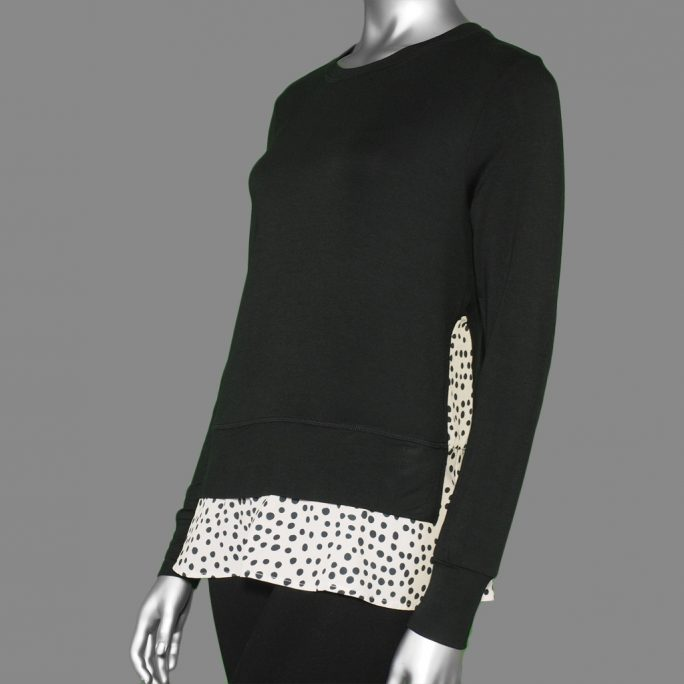 Tribal Crew Neck Top with Combo Frill- Black. Tribal Style:4776O-2422-0002