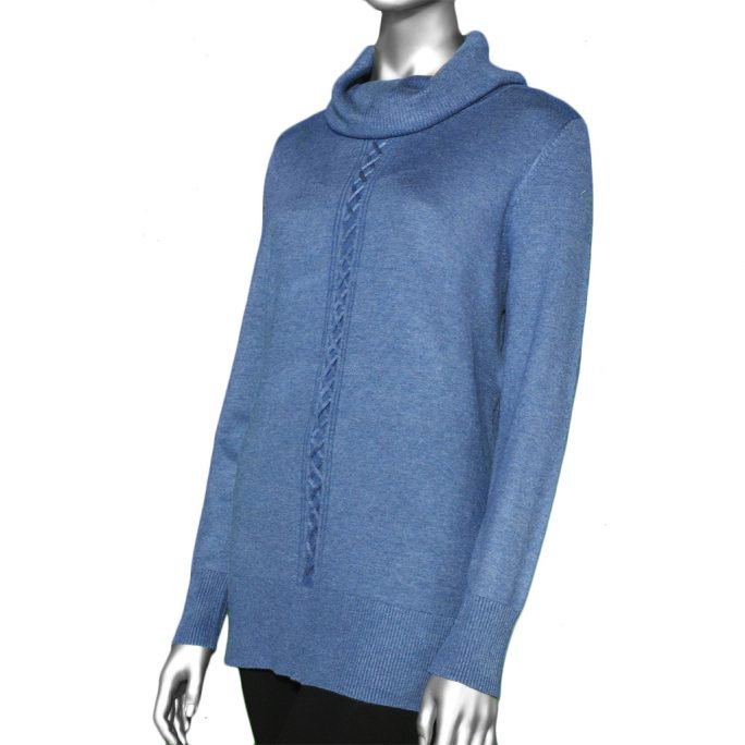 Tribal Cowl Neck Sweater- Arctic Blue. Tribal Style: 4703O-133-1714