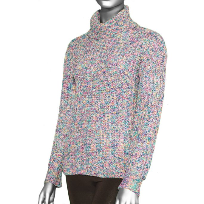 Tribal Turtle Neck Knit Sweater- Arctic Blue. Tribal Style:4779O-3414-1714