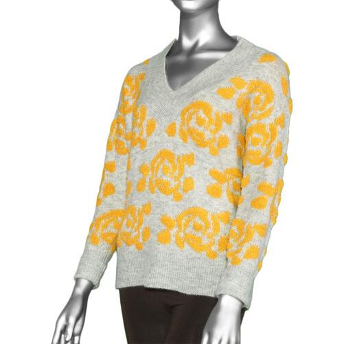 Tribal V-Neck Intarsia Sweater- Sunset. Tribal Style:4781O-3413-0953