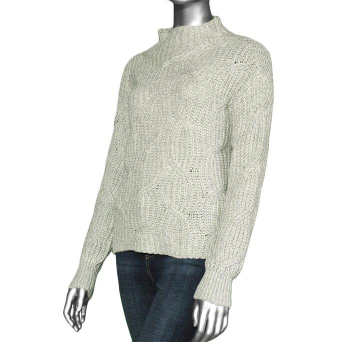 Tribal High Neck Oversized Sweater- Light Grey Mix. Tribal Style:7132O-4492-2492
