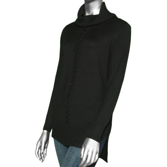 Tribal Cowl Neck Sweater- Black. Tribal Style:4703O-133-0002