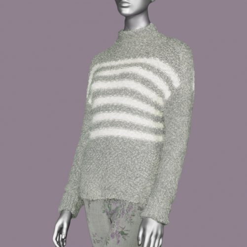 Tribal Drop Shoulder Sweater- Grey Mix. Tribal Style:4647O-3338-0266